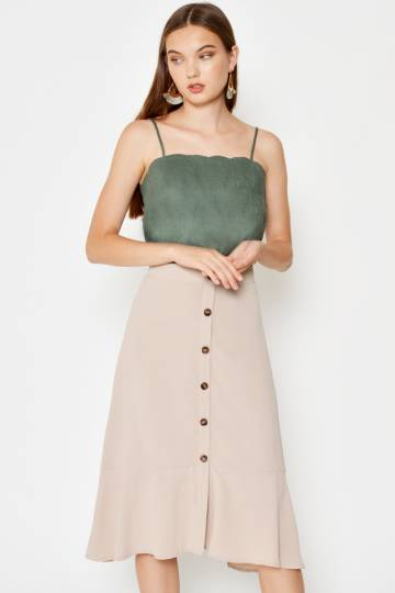 DANISHA BUTTONDOWN SKIRT NUDE