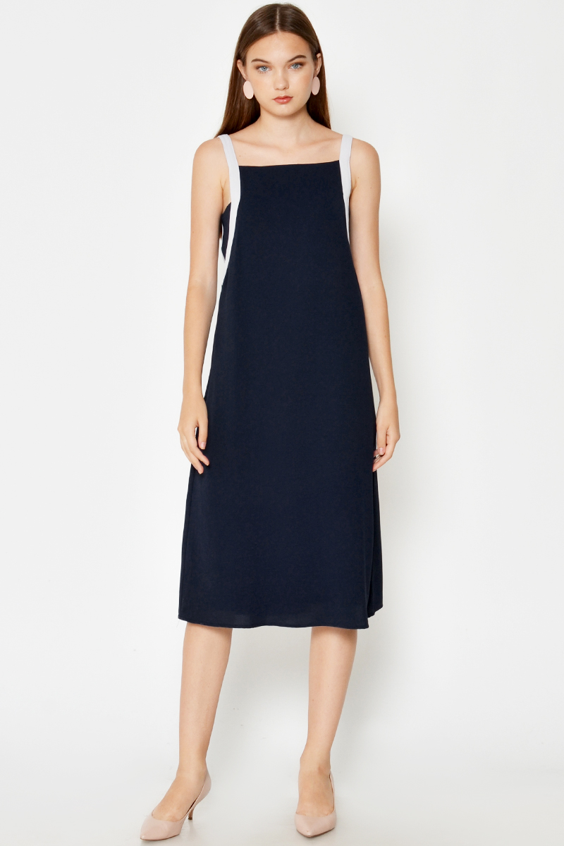 JULIX CONTRAST STRAP MIDI DRESS NAVY