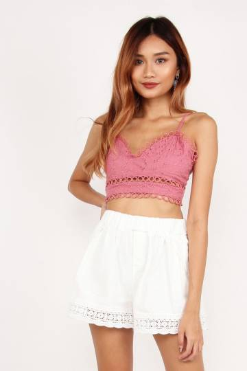 Rebel Coachella Eyelet Crop Top (Dusty Rose)