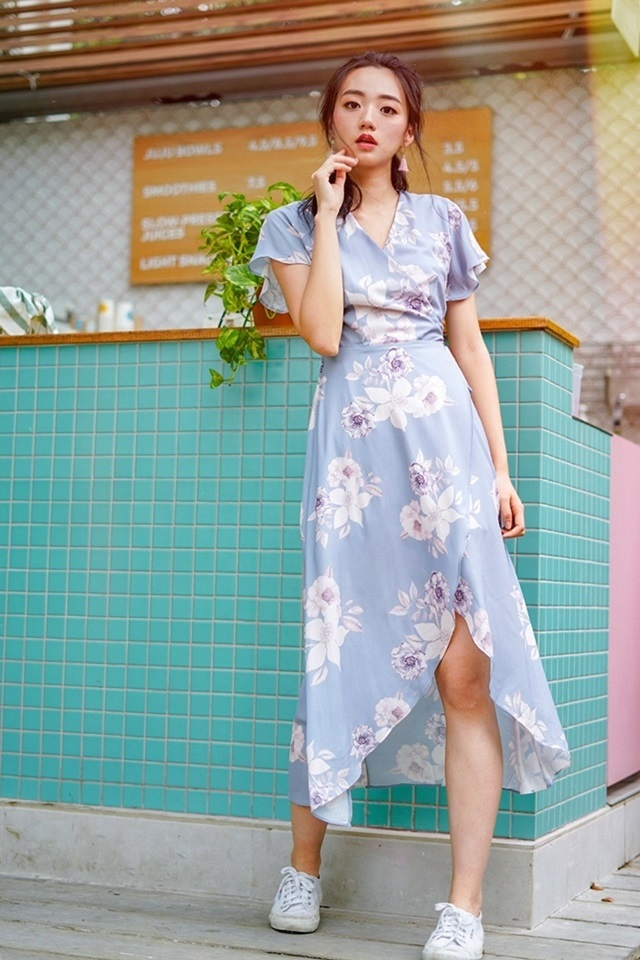 TIFFANY FLORAL KIMONO TIE STRING WRAP DRESS #MADEBYLOVET (GREYISH BLUE)