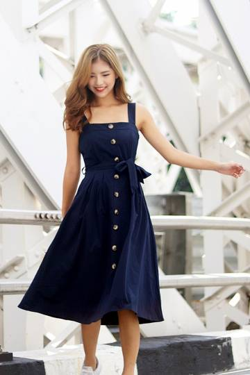 JOVELLE BUTTON DOWN DRESS WITH SASH #MADEBYLOVET (NAVY) *RESTOCKED*