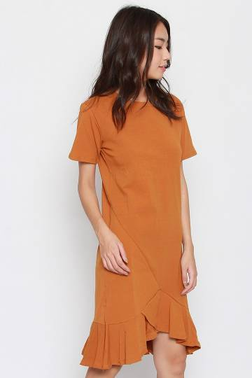 Kaila Asymmetrical Dress in Mustard