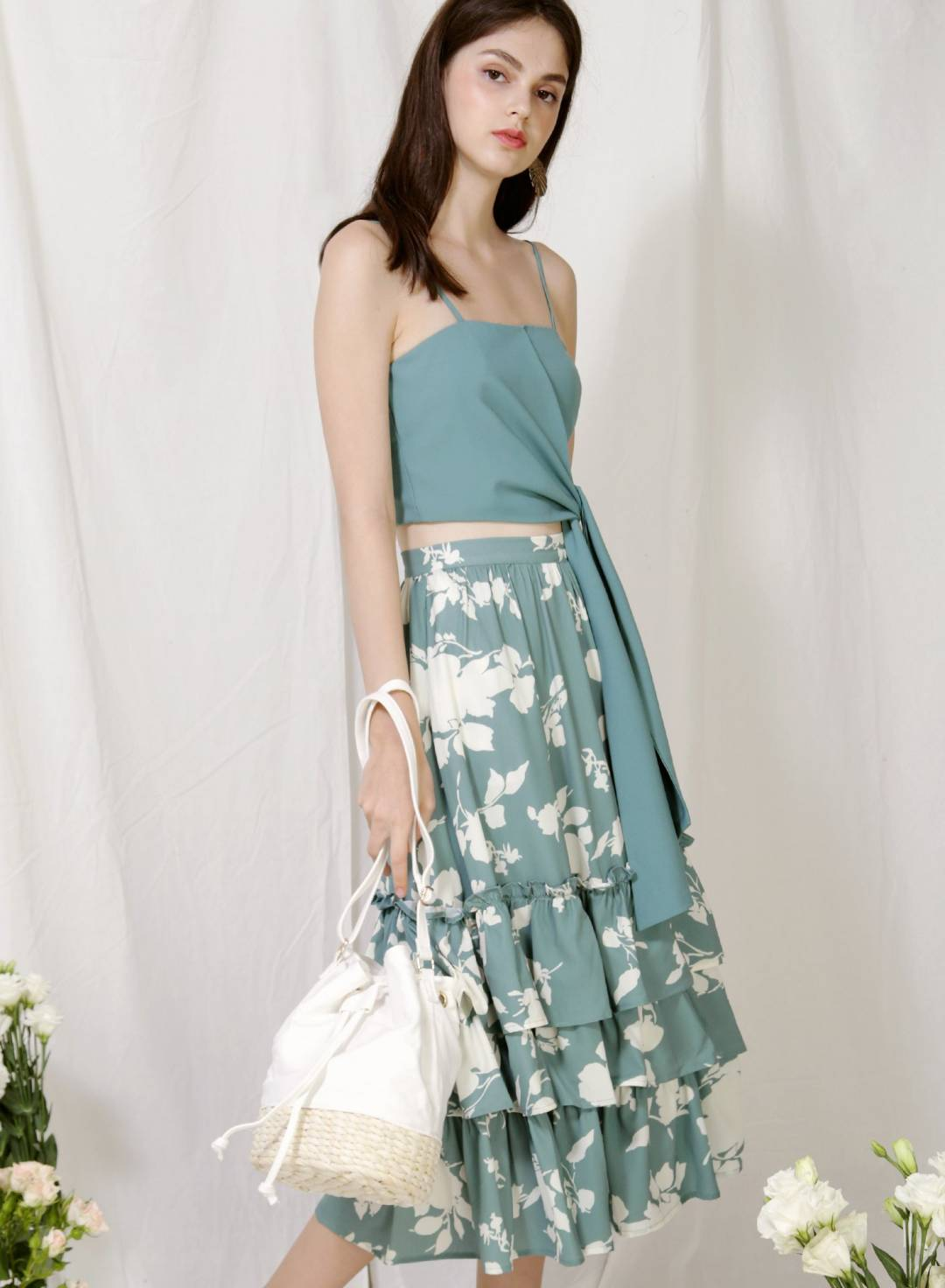 Charmed Ruffle Tiers Skirt (Teal Floral)