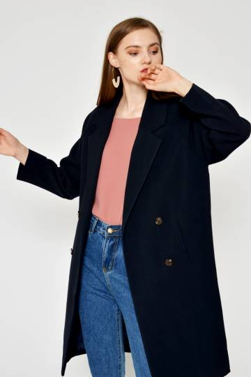 CABRIE LAPEL COAT NAVY