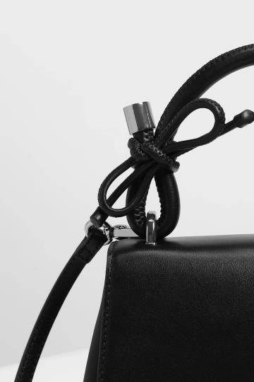 Double Bow Leather Top Handle Bag