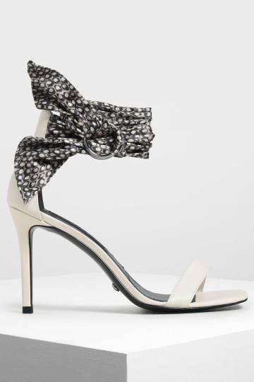 Snake Print Leather Ankle-Tie Heels