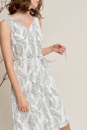 LEXIS Print Dress in Off White