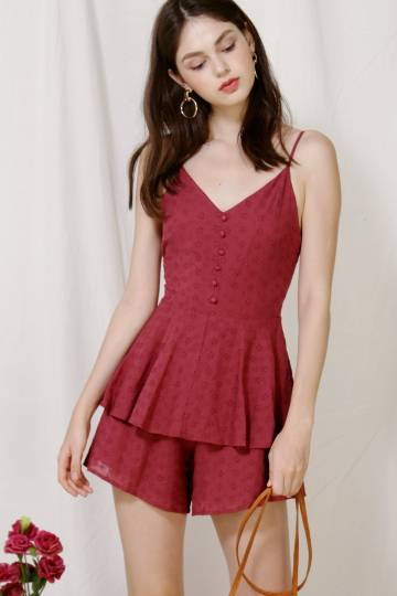 Serene Button Front Eyelet Romper (Dark Rose)