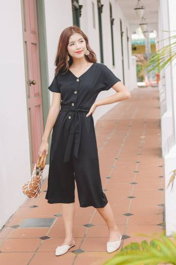 Solace Button Jumpsuit in Black