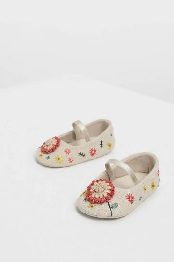 Baby Girls' Floral Embroidered Raffia Mary Janes