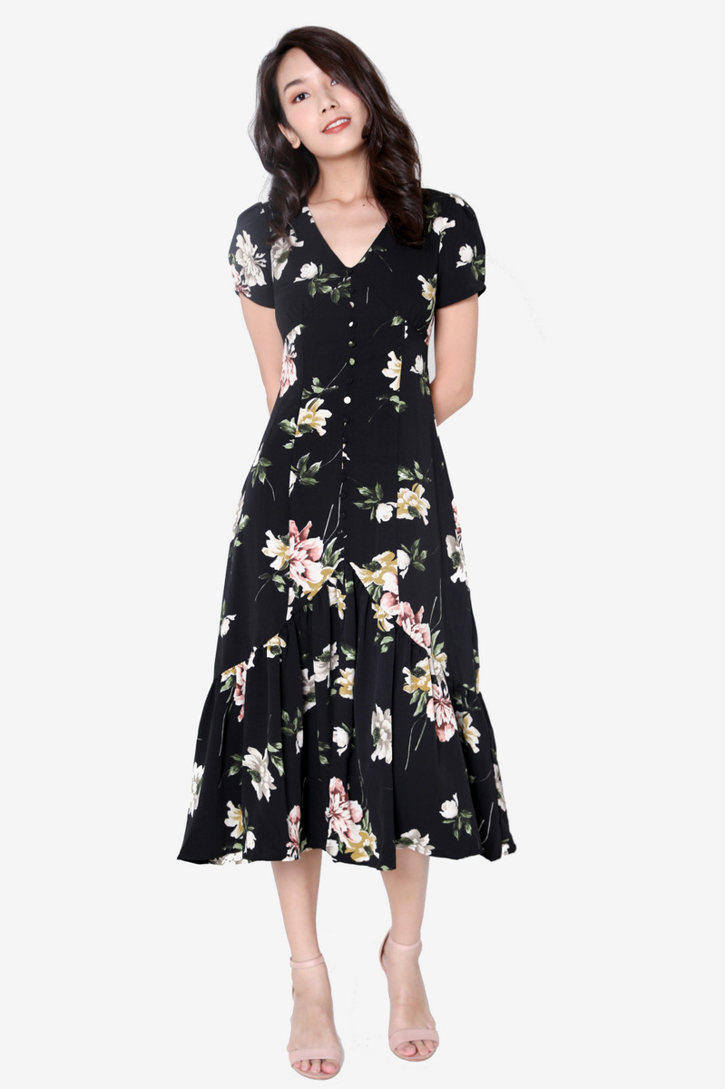 Joellen Maxi Dress (Black Floral)
