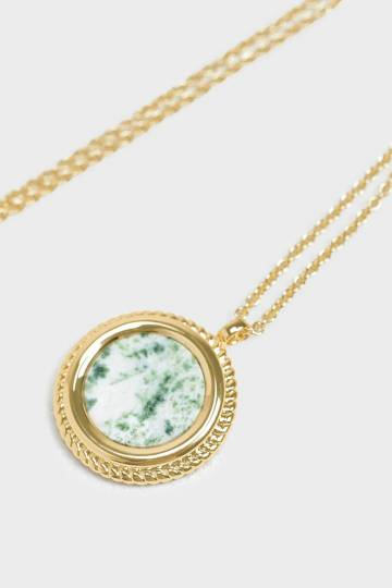 Circle Semi-Precious Stone Pendant Necklace