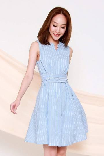 *RESTOCKED* TRISH BLUE STRIPE SASH DRESS