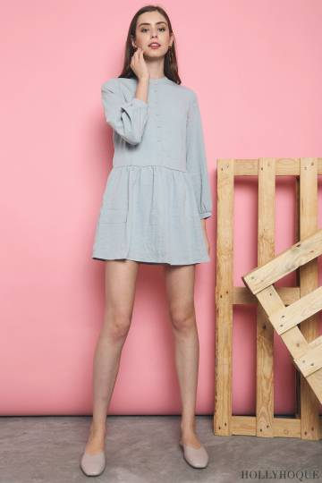 Hegal Dropwaist Shirtdress Sky