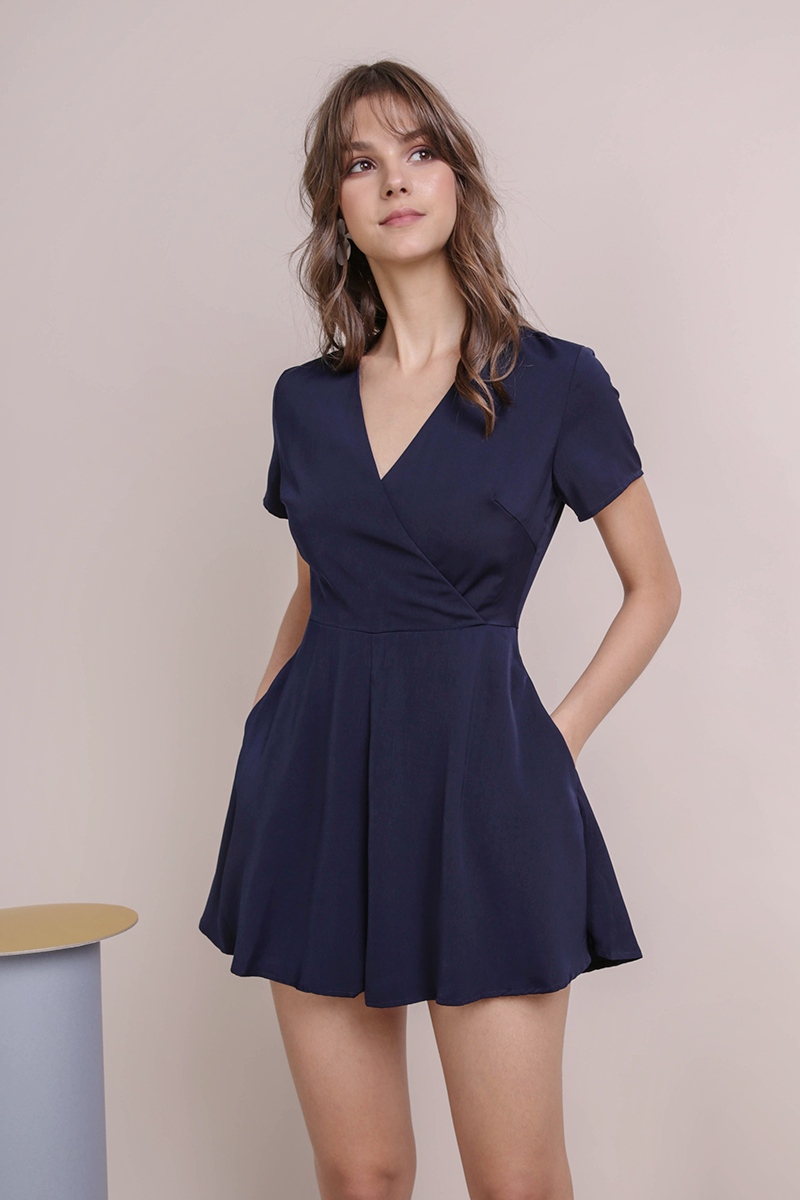 Mido Wrap Front Romper (Navy)