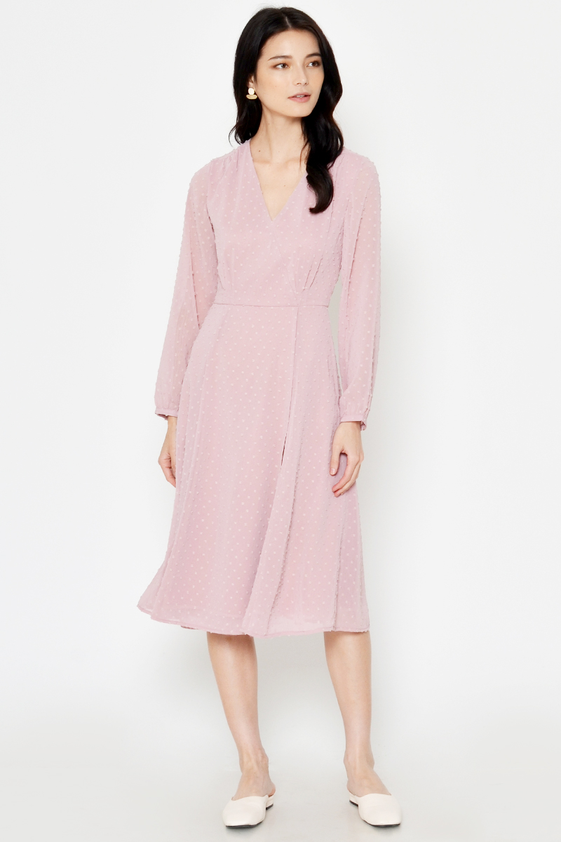 EARLINA POLKADOT CHIFFON MIDI DRESS PINK