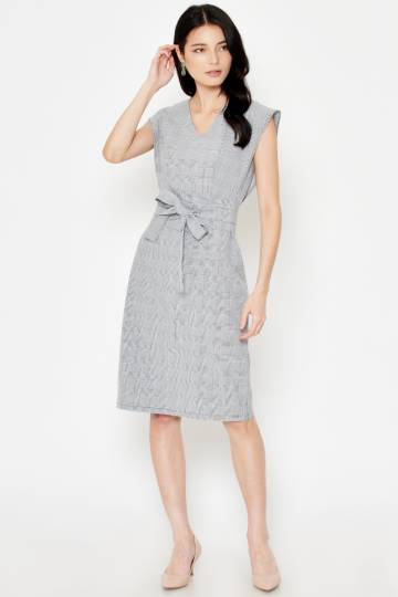 ANISAH PLAID PENCIL MIDI DRESS W OBI BELT