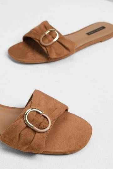 Ruched Two-Tone Buckle Slide Sandals