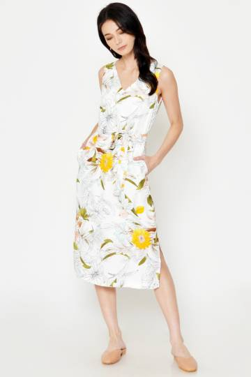 BACKORDER ELLERY FLORAL MIDI DRESS W SASH WHITE
