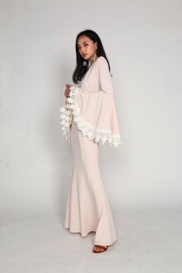 Alexi Bell Sleeve with Crochet Details Maxi (Pink)
