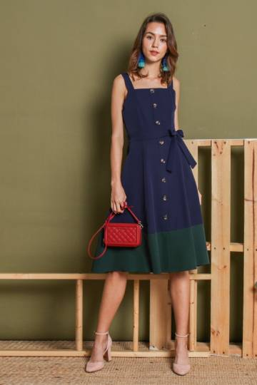 Colourblocking Buttons Midi Dress Navy Blue