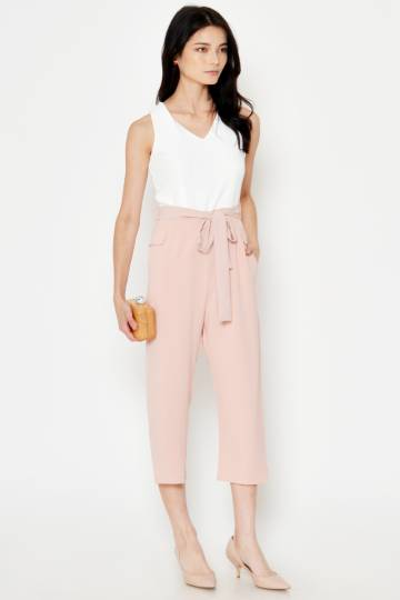QADIA COLOURBLOCK JUMPSUIT W SASH LIGHT PINK