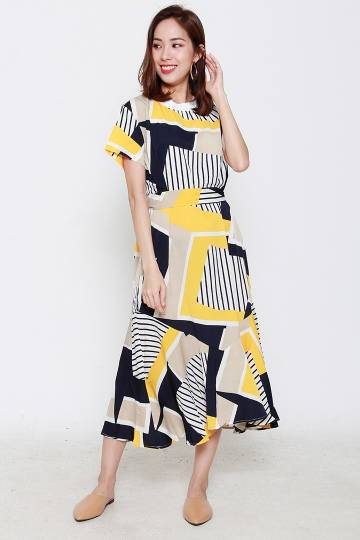 Backorders Yao Abstract Dress in White Yellow Black