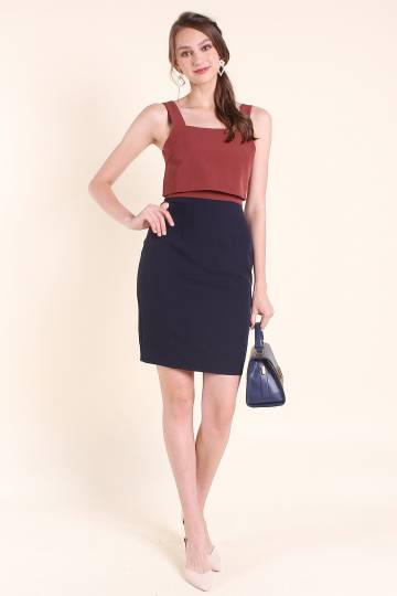 MADEBYNM SMITHSTON COLOURBLOCK CROPPED TIER WORK DRESS IN RUST/NAVY [XS/S/M/L/XL]