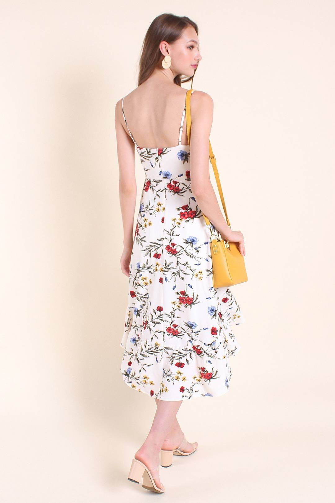MADEBYNM ALDERS HIGH-LOW FLORALS SPAG MIDI DRESS IN WHITE [XS/S/M/L/XL]