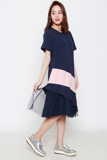 Backorders Pilou Mesh Dress in Pink Blue
