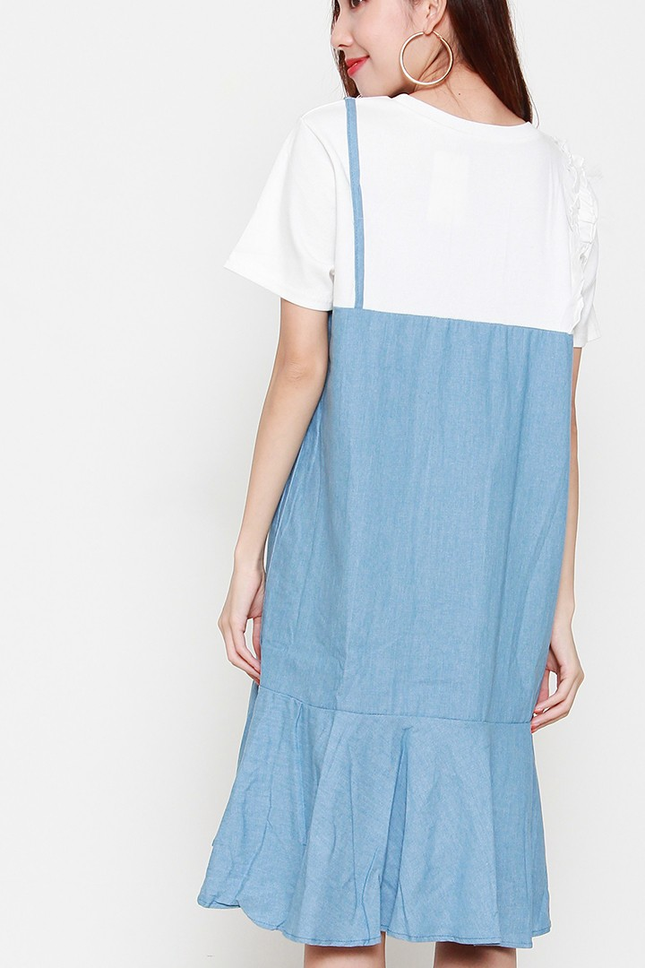 Nathalie Denim Dress in White