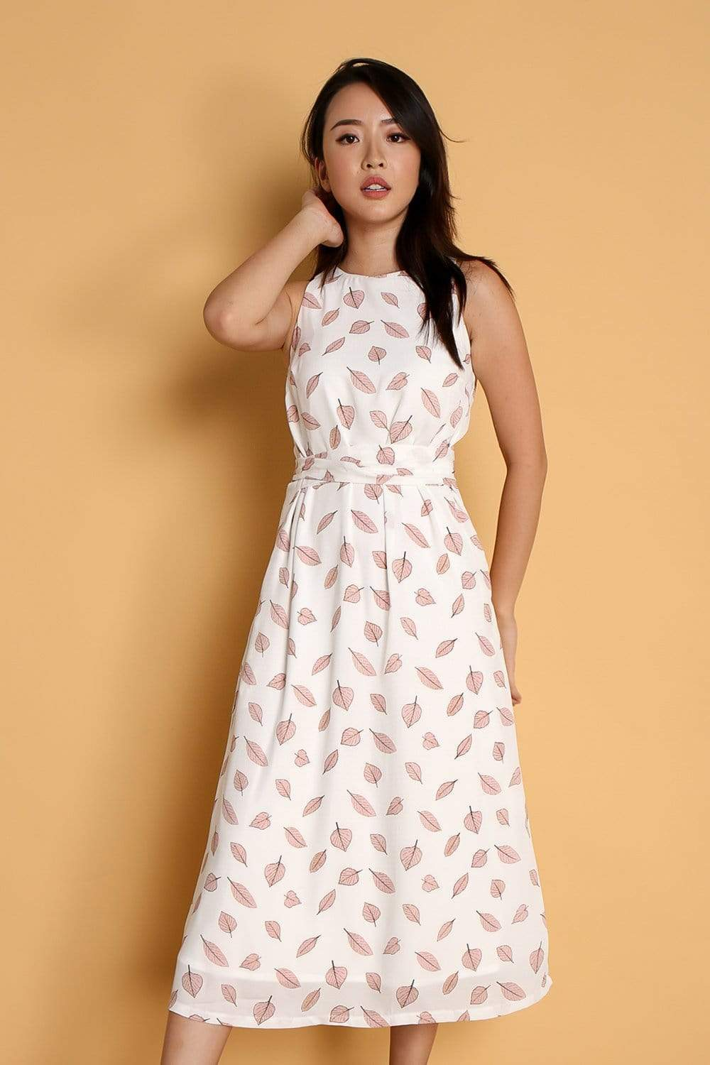 BREE WHITE LEAVES SASH MIDI DRESS