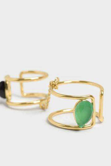 Green Agate Double Ring