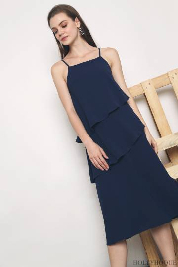 Seira Diagonal Tier Midi Dress Navy (Restock)