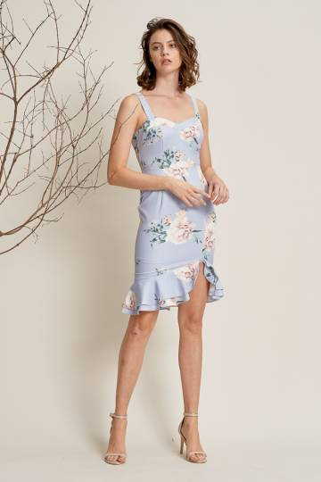 EDITH Ruffles Dress in Sea Lavender, By LVG
