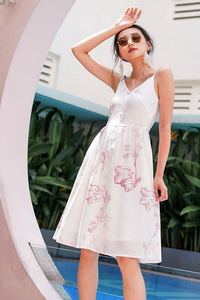 KAELYN ABSTRACT FLORAL BUTTON MIDI SPAG DRESS #MADEBYLOVET (WHITE)