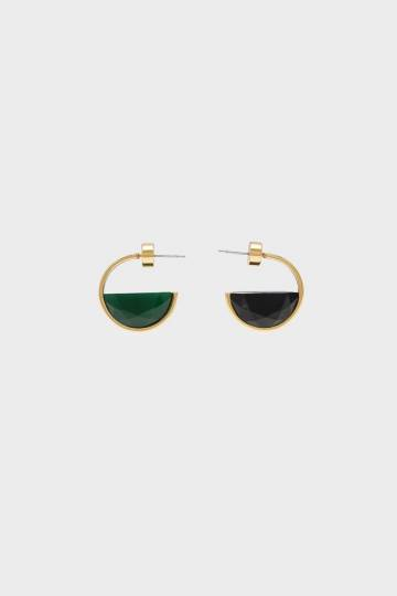 Black Marble Hoop Earrings