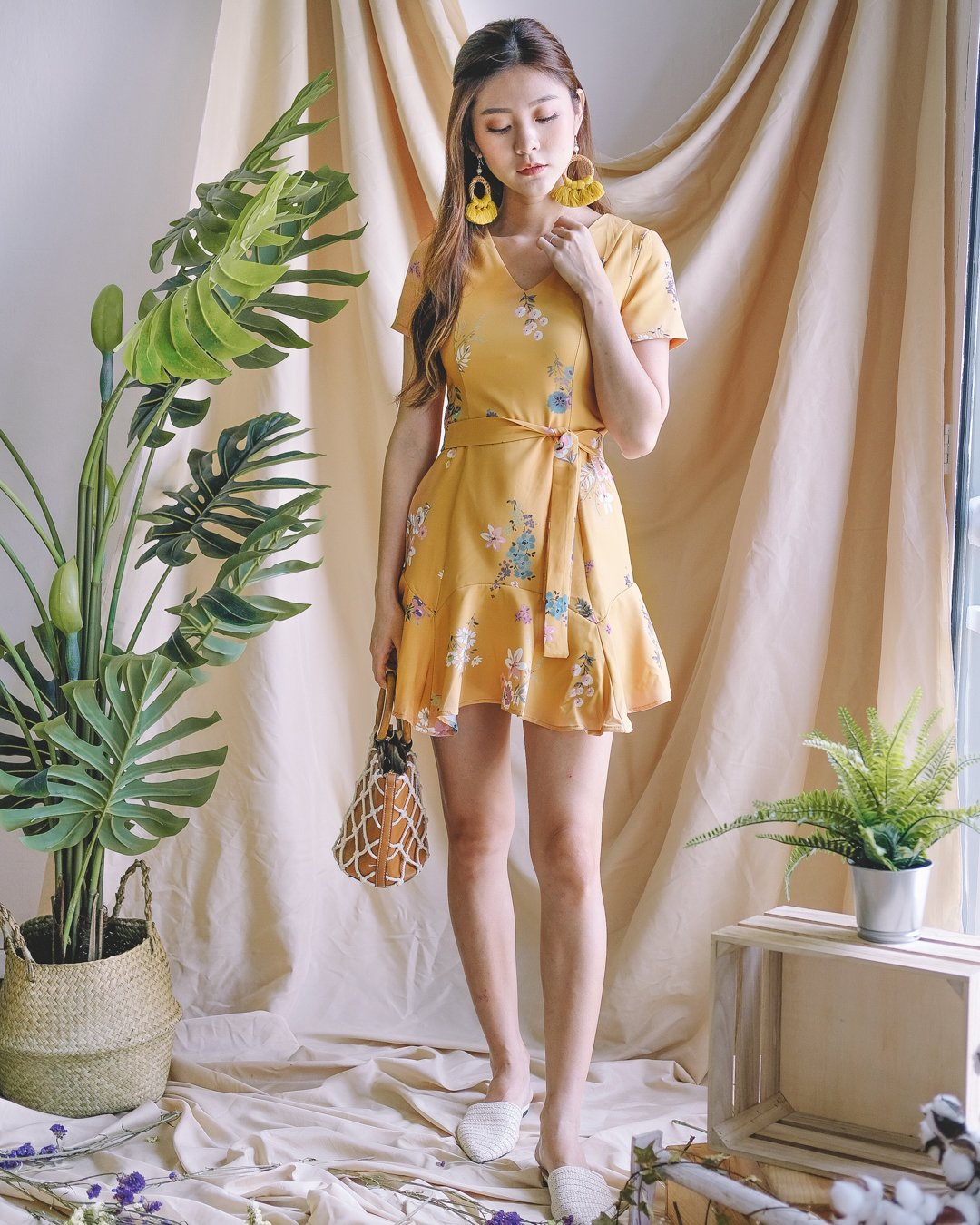 [Restocked] Lenora Floral Dress in Mustard