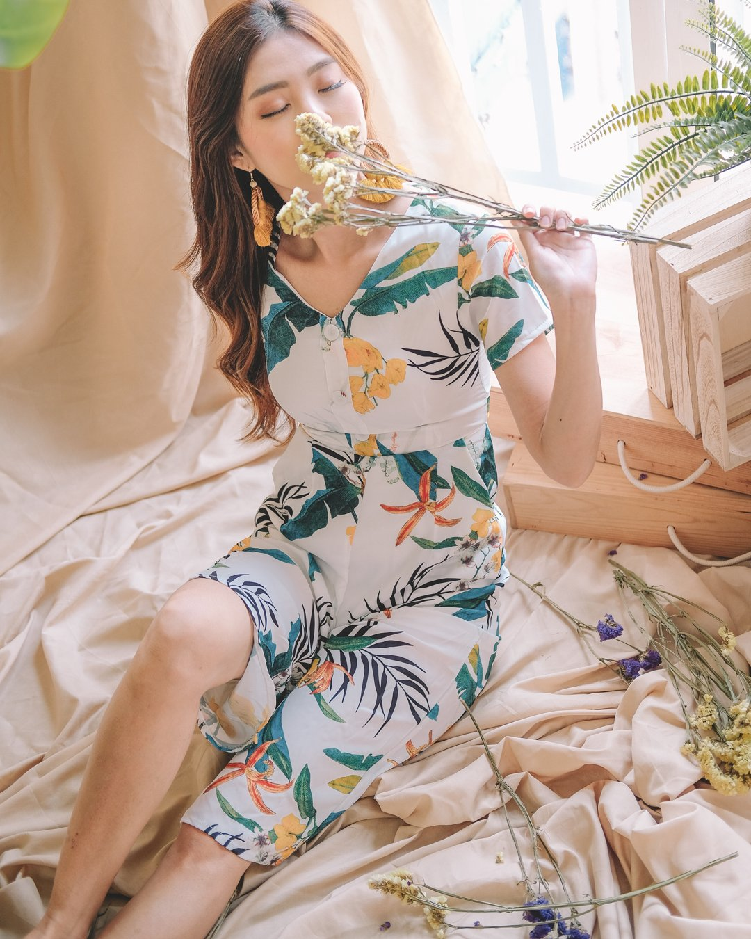 Meadow Tropical Jumpsuit in White