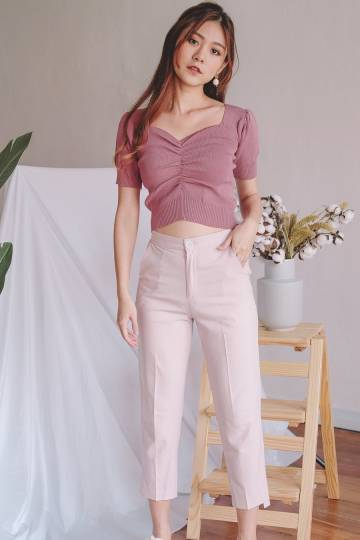 [Restocked] Puff Sleeve Sweetheart Knit Top in Mauve