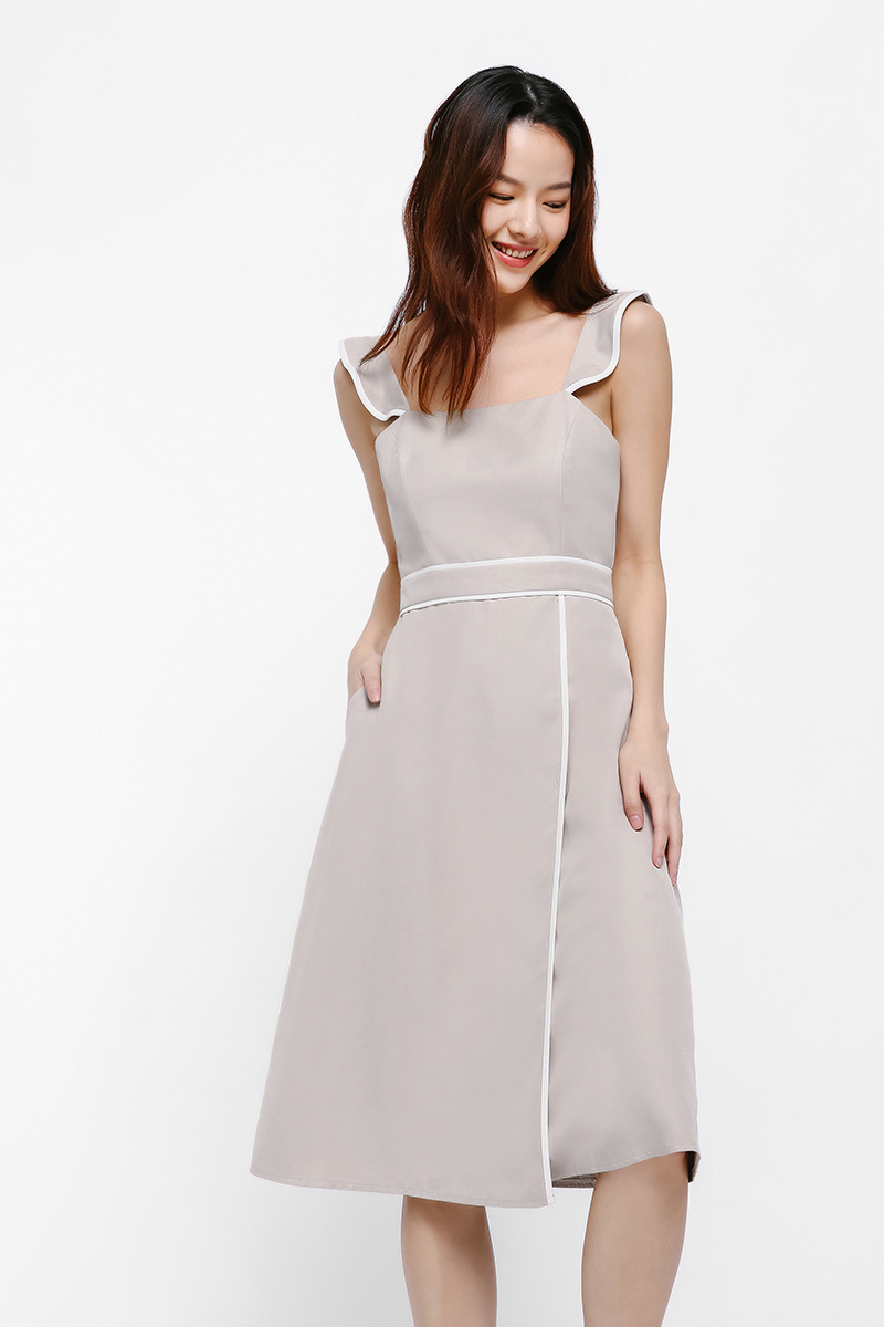 Nifayla Contrast Piping Midi Dress