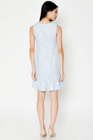 MONIQUE TWEED SHEATH DRESS LIGHT BLUE