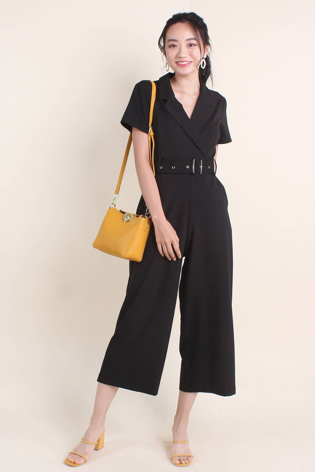 VALENCIA UTILITY BELTED JUMPSUIT IN BLACK [S/M/L/XL]