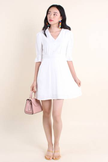 ODETTINA GATHERED SLEEVE A-LINE DRESS IN WHITE [S/M/L/XL]