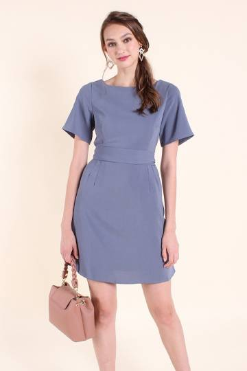MADEBYNM CALLIE WAIST-TIE SLEEVE WORK DRESS IN STEEL BLUE [XS/S/M/L]