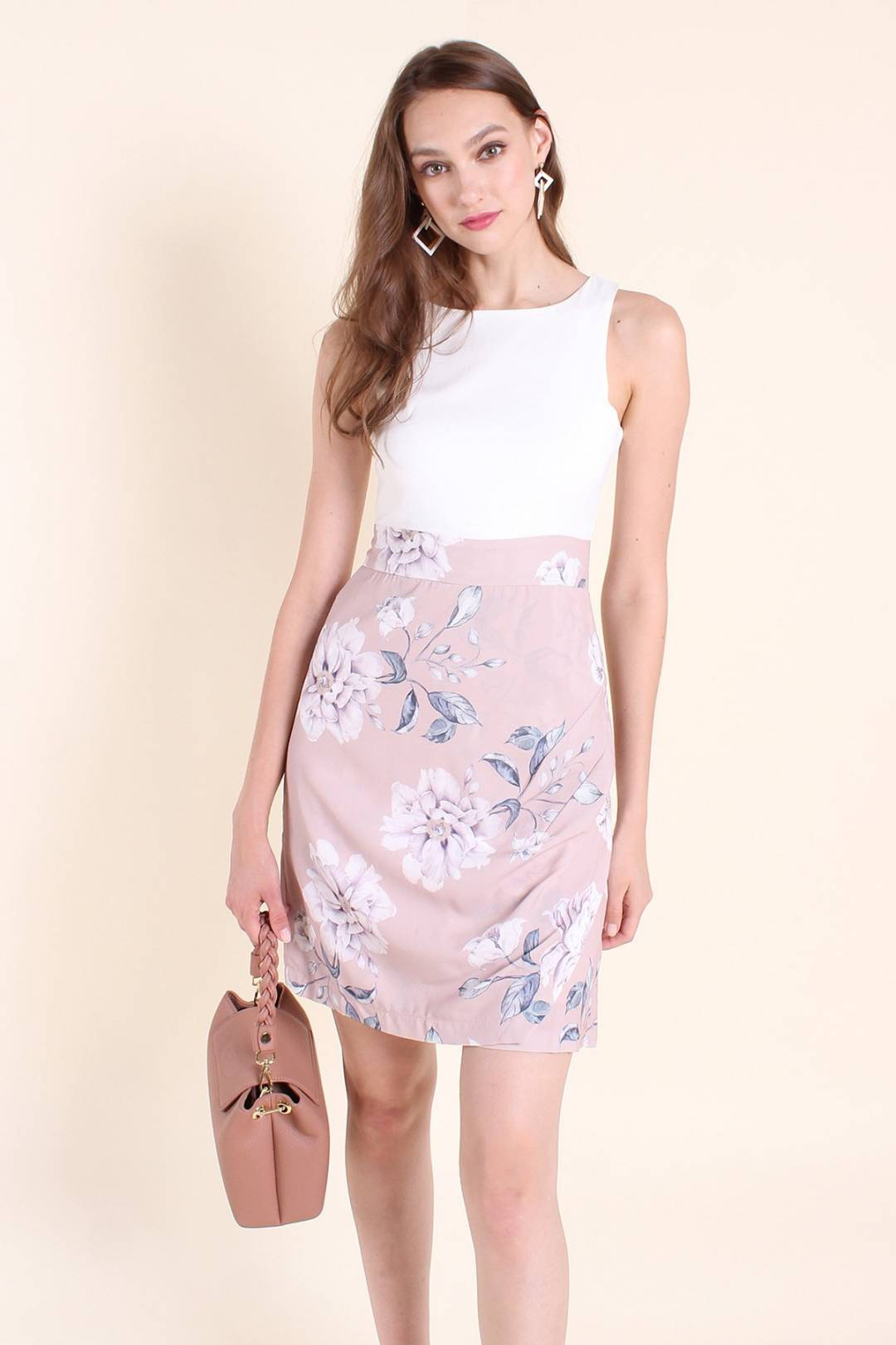 MADEBYNM GOLDIA FLORAL A-LINE DRESS IN WHITE/MAUVE [XS/S/M/L]