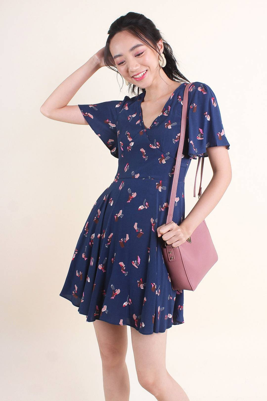 MADEBYNM MINKA V-NECK PRINTS SKATER DRESS IN PRUSSIAN BLUE [XS/S/M/L/XL]