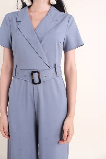 VALENCIA UTILITY BELTED JUMPSUIT IN PIGEON BLUE [S/M/L/XL]