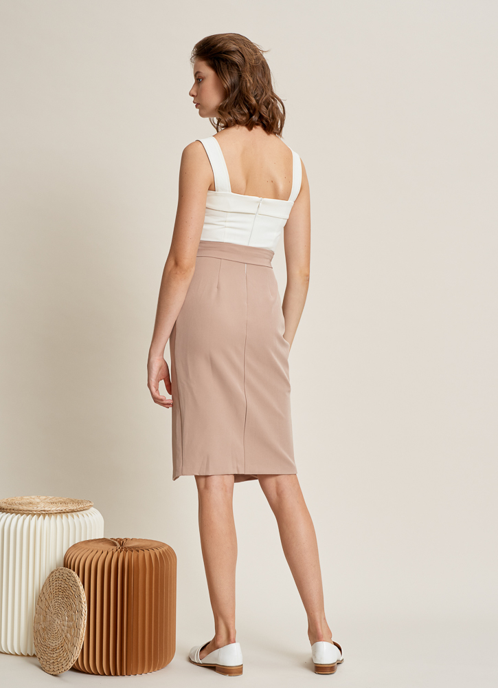 //Restocked// ALETHEA Midi Dress in Taupe, By LVG