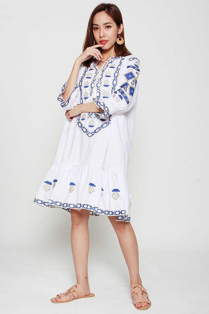 Amber Embroidery Dress in White